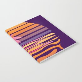 Retro striped sun and palm Notebook