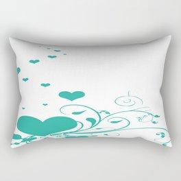 Aquamarine Valentine Hearts On A White Background Rectangular Pillow
