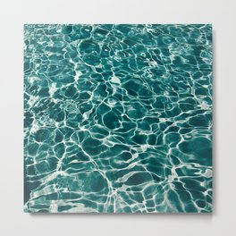 Blue Turquoise Teal Water Pattern Sunlight Reflecting Shimmering Metal Print