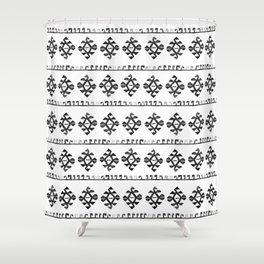 Black and White Bohemian Tribal Ethnic Kilim Pattern Shower Curtain