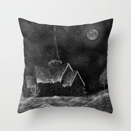 Old Stave Church Throw Pillow