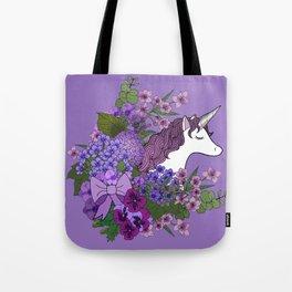 Unicorn in a Purple Garden Tote Bag