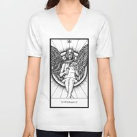 tarot V-neck T-shirts featuring Temperance Tarot by Corinne Elyse