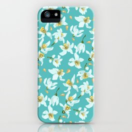 Citrus blooming tiny flowers in a sky blue backgrund iPhone Case