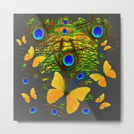 GREEN PEACOCK FEATHERS YELLOW BUTTERFLIES Metal Print