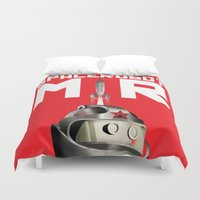 soviet Duvet Covers featuring Retro Soviet minimalism space robot by Cardula