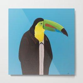 Toucan In Suit Metal Print