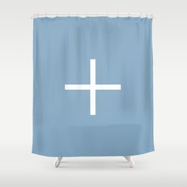 white cross on placid blue background Shower Curtain