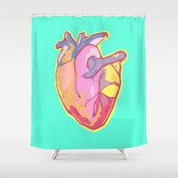 anatomical heart Shower Curtains featuring Heart by Riley