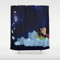 swimming Shower Curtains featuring swimming by HanadaCreations