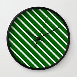 Christmas Green Diagonal Stripes Wall Clock