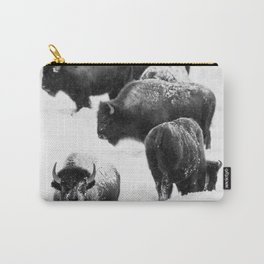Bisons in the Snow Carry-All Pouch