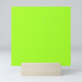 Green Grid White Line Mini Art Print