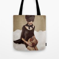 power Tote Bags featuring With Great Power by Ruben Ireland