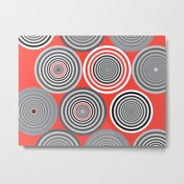 Circles and shades Orange Metal Print