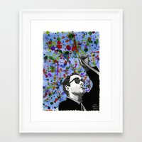 godard Framed Art Prints featuring Jean-Luc Godard by Abominable Ink by Fazooli