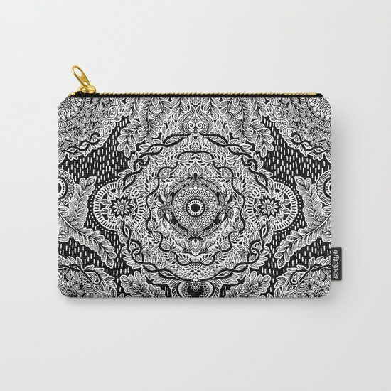 Rain in the Garden - black and white Carry-All Pouch