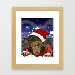 Christmas monkey Framed Art Print