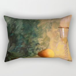 A glass of wine with an apple on a colourful painted background Rectangular Pillow