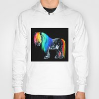 pony Hoodies featuring Rainbow Pony by Crystal Cook Art