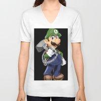 luigi V-neck T-shirts featuring Luigi by Halohappy