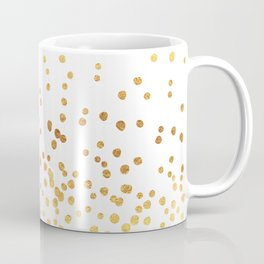 Floating Dots - Gold on White Coffee Mug