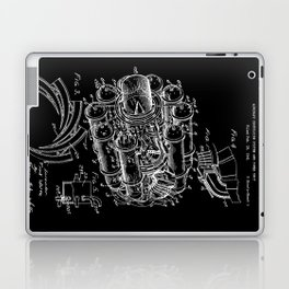 Jet Engine: Frank Whittle Turbojet Engine Patent - White on Black Laptop & iPad Skin