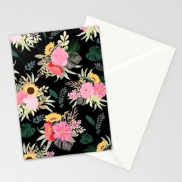 Watercolor Poppy & Sunflowers Floral Black Design Stationery Cards