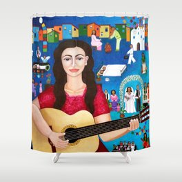 Violeta Parra playing guitar Shower Curtain