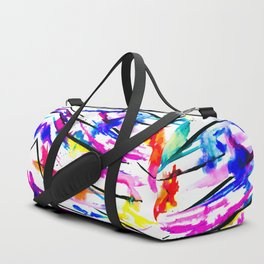 Modern bright abstract pink black multicolor watercolor brushstrokes Duffle Bag