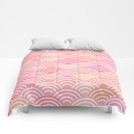 dragon fish scales simple pattern Nature background with japanese wave Comforters