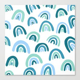 Rainbow Pattern Blue Canvas Print