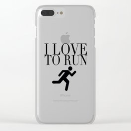 I Love to Run with Running Stick Figure in Black Clear iPhone Case
