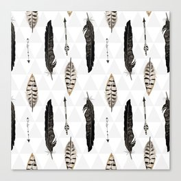 Pattern with feather and arrows  Canvas Print