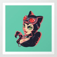catwoman Art Prints featuring Catwoman by Piano Bandit