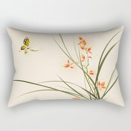 Oriental style painting - orchid flowers and butterfly 003 Rectangular Pillow