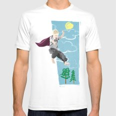 The man who has no imagination has no wings. MEDIUM White Mens Fitted Tee