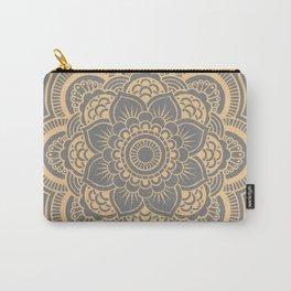 Mandala Flower Gray & Peach Carry-All Pouch
