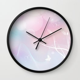 floral background with flowers, leaves, bird and branches of blooming tree. Stylized garden in tints Wall Clock
