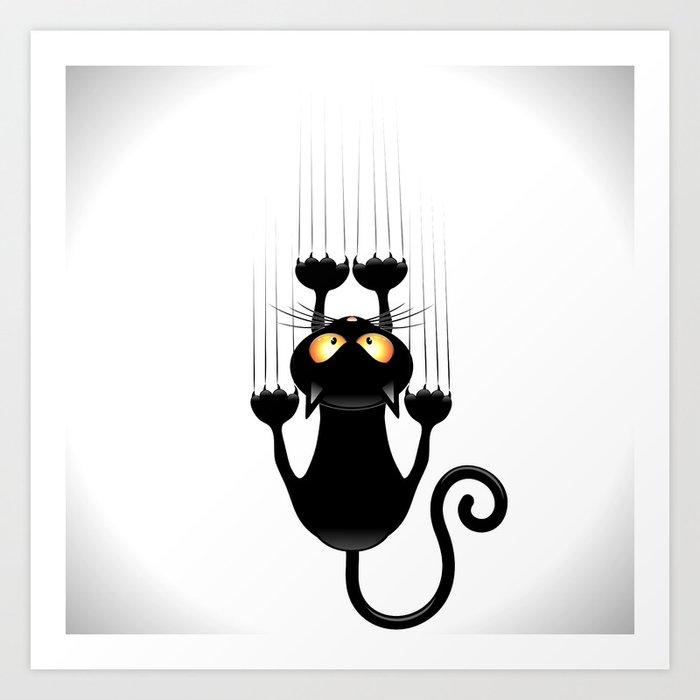 Black Cat Cartoon Scratching Wall Art Print By