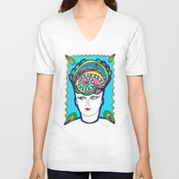 headdress V-neck T-shirts featuring Headdress by G.L.BEANS