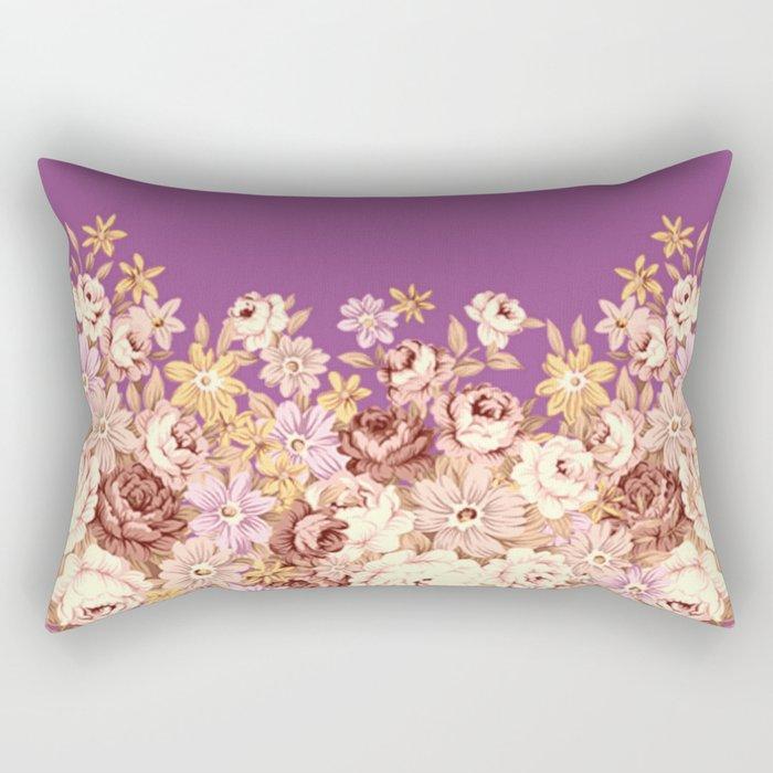 floral decor on purplish pink Rectangular Pillow