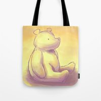 pooh Tote Bags featuring Pooh Bear by Jennifer Kathryn Lee