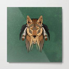 Tribal Coyote Metal Print