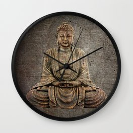 Sitting Buddha On Distressed Metal Background Wall Clock