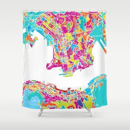 Hong Kong Colorful Map Shower Curtain