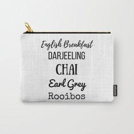 Tea List English Breakfast Chai Earl Grey Rooibos Darjeeling Carry-All Pouch