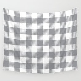 Buffalo Plaid - Grey & White Wall Tapestry