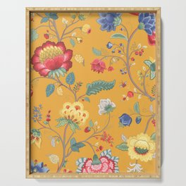 Vintage Yellow Ochre Floral  Serving Tray