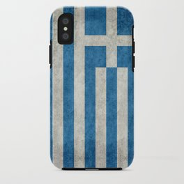 Greek flag in retro grunge iPhone Case